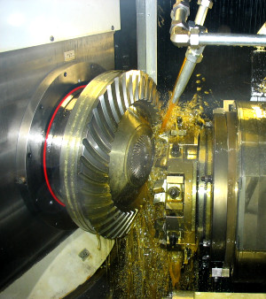 Cutting a spiral bevel gear on a Klingelnberg CNC machine at Gear Design & Service Pty Ltd